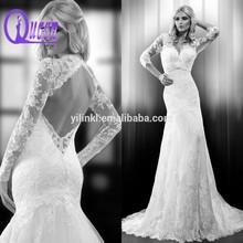 2015 New Arrivals Open Back Mermaid Long sleeve Crysytal Beaded Lace Wedding Dresses