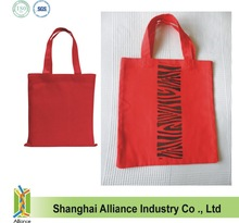 Hand Printed Handmade Red Tote Bag Large - Reusable Cotton Fabric Shopper Eco Friendly Shopping Bag