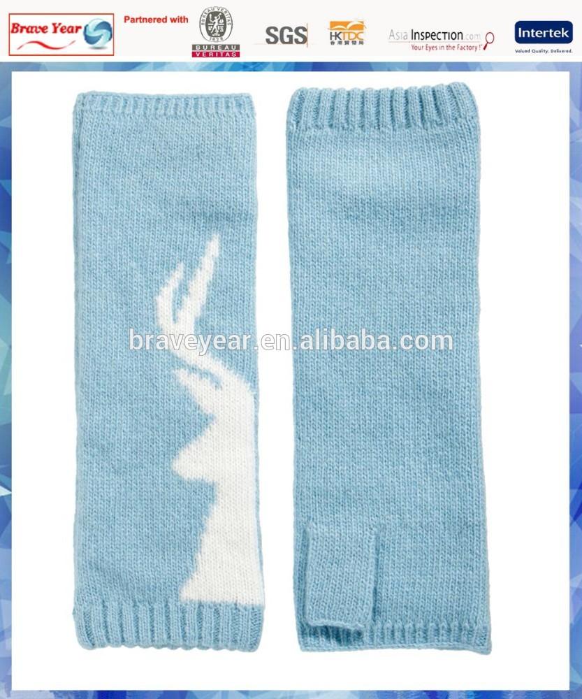 deer half finger knit cashmere glove for women