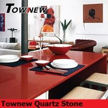 Red quartz stone dining table top