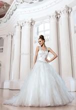 2014Hot Sale Romantic Wedding dress Wedding dresses Ball Gown Off shoulder Zipper Floor length Tulle Applique Beads