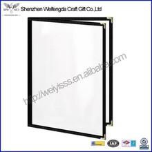 Simple design high quality transparent 2 pockets menu cover