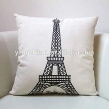 Promotional high quality unique design cotton linen match sofas Paris style pillow