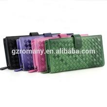 clip woven women wallets/grid/rhombus/diamond OEM genuine sheep skin/factory outlet/long/handbag/clutch/purse