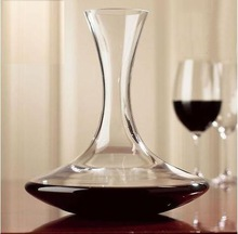elegant mouth blown clear single glass wine decanter