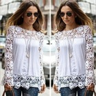 14043 New Fashion 2014 Autumn Winter Chiffon Long Sleeve Hollow Out Lace Patchwork Woman Blouse