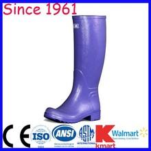 Ladies Fashion Rubber Rain Boots Dark Blue Color Knee Height Fashion Rain Rubber Boots