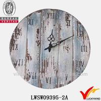 round handmade vintage reclaimed wood wall clock retro