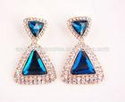Popular fashion blue Acrylic diamond Triangle Shaped Stud Earrings