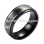 black titanium wedding ring with MOP inlay jewelry titanium wedding ring
