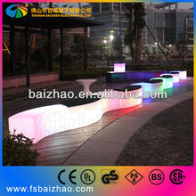 rgb led modern clear plastic wooden long bench chair