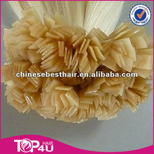 Alibaba best quality Russian italian keratin fusion remy flat tip hair extensions