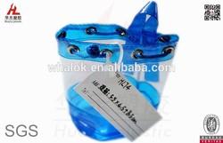 small blue plastic gift bag drawstring