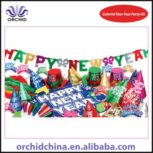 Mellenium Colorful New Year Party Kit with Foil Celebration Products, Hawaiian Leis, Happy New Year Banner