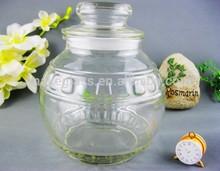round glass storage jar / glassware