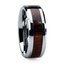 Fashion Jewelry Hot Sale koa wood inlay men tungsten wedding rings