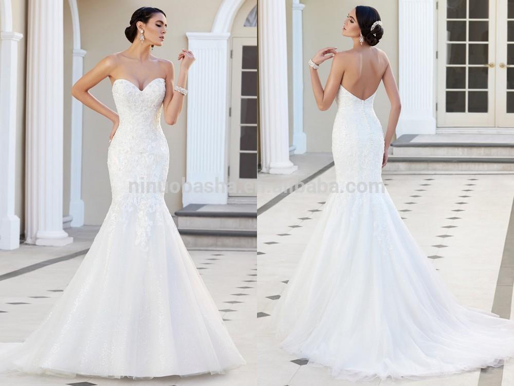 Wholesale 2015 custom fit mermaid wedding dress strapless for Low cut back wedding dress