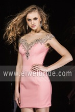 Peach pink satin embroidered beading see through back scoop tight fitted cocktail dress