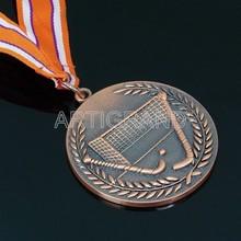 Vintage ice hockey brass award medal