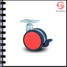 Factory supply furniture leg casters with brake wholesale price Dual wheel