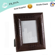 Vintage Excellent Design Natural Textured Leather Photo Frame in Chocolate Colored