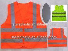 Reflective streak vest with bag,Laranja and Verde zipper polyester tricot/knitting jacket