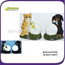 Resin dog &cat &butterfly solar garden decorative lamp