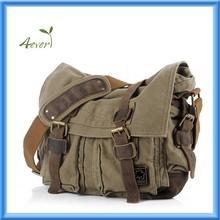 "Unisex Canvas Leather Messenger Shoulder Bag Fits 14.7"" Laptop"