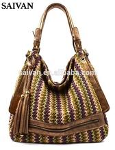 hot new product for 2015 fashion designer front zipped bohemia straw beach woman shoulder bag,wholesale guangzhou handbag china