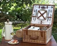 Handmade Mini portable wicker 2 person picnic set wicker picnic basket set