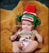 Handmade crochet sock monkey baby winter hat Hand knitted baby winter hats