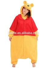 Adult 100% Polyester Pajamas Unisex Animal New Winnie Bear Sexy Adult Footie Pajamas HFC053