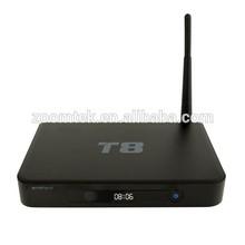 Full hd media player Zoomtak T8 metal AmlS802 quad core 4k tv box 2GB RAMXBM13.2 pre-installed google android smart tv box