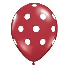 "NEW Halloween Party Supplies Decorations Tableware 12"" Polka Dot Balloons - Set of 5 - Red"