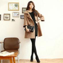 W9257 NEW ARRIVAL four colors european cotton inside belt back ladies long woolen coat