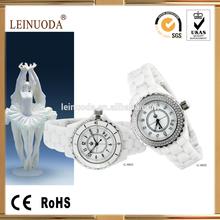 6 hands chronograph fashion white round ceramic men watch 2014