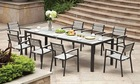outdoor furniture sling chair & table in aluminum frame with eco wood table top