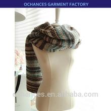 Fashion Snow Big Chunky Multi Color Acrylic Stripe Knit Scarf