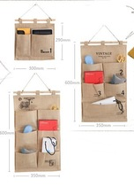 REACH Standard Washable Own Band Vintage Jute Hanging Wall Mounted Storage Bag