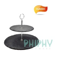 Two layers display plate in slate, party plate