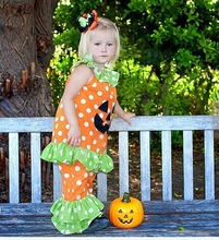 Bulk wholesale children's fall outfits kids halloween wear clothing sets lovely baby halloween cotton outfits