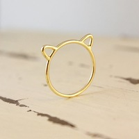 2015 New Design Christmas Gift Cat Ear Rings, Silver Rings Cat Rings Made In China