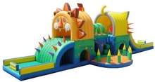 Golden Lion inflatable castle with inflatable obstacles