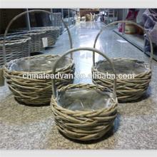 Nest Shape Wicker Rattan Flower Basket with Poly Lining
