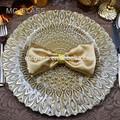 venta caliente más nuevo elegante oro pavo real de la boda de cristal placa de cargador de venta al por mayor