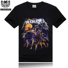 Rocksir Black T-shirts Short Sleeves 3d shirt Metallica Rock Band Printed male Casual men 3d rock mens t shirts fashion 2014
