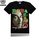 الرجال القميص الأسود rocksir قمصان تي-- شيرت الشارع ارتداء بوب مارلي صورة مطبوعة كم قصير القميص عادية الرجل 3d regga الموسيقى