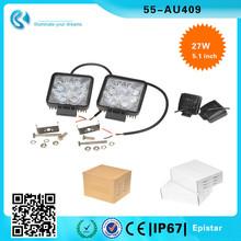 """(2pcs/lot) 6500 K 5.1"""" Auto Car Suv ATV Lamp 27w Square LED lighting 30 Degree Off Road Spotlight"""