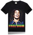 الرجال القميص الأسود rocksir قمصان تي-- شيرت صورة مطبوعة بوب مارلي regga الشارع ارتداء قصيرة الأكمام عارضة تي شيرت الموسيقى 3d ضئيلة
