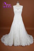 Real Pictures MC-W080 A-Line Floor Length Scoop Neck Satin Lace Applique Bride Lace Wedding Dresses